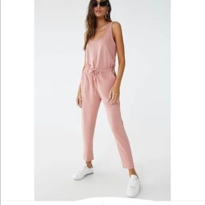 Tie front French terry drawstring jumpsuit